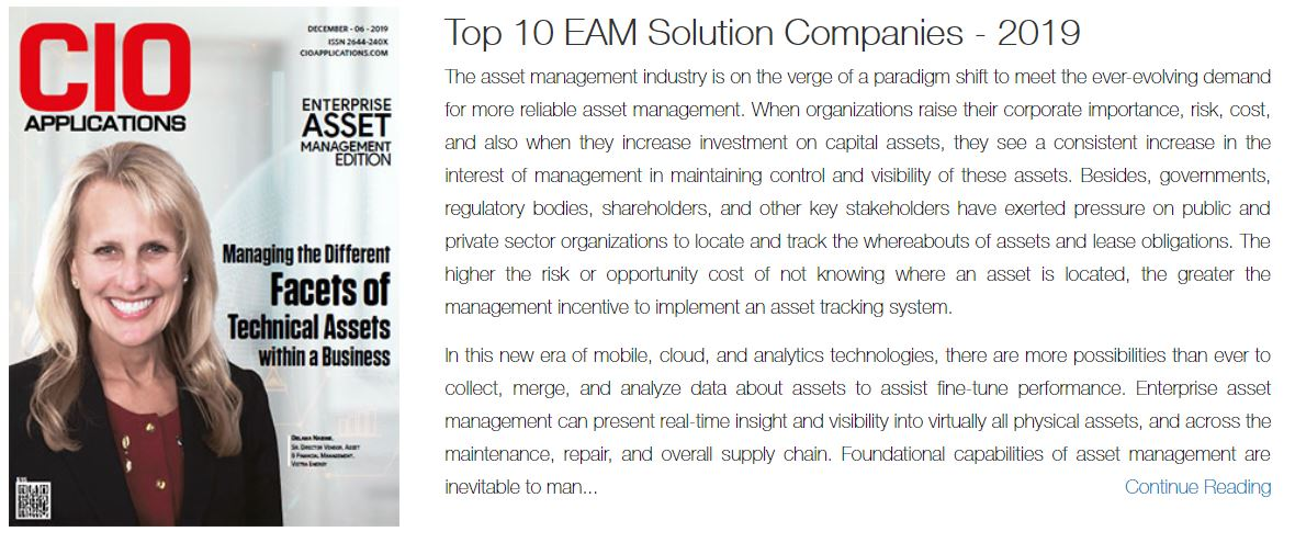 AbeTech Named Top 10 EAM Solution Company by CIO Applications Magazine